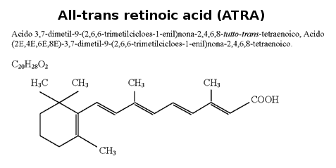 Tretinoin, also known as all-trans-retinoic acid (ATRA), is a naturally occurring derivative of vitamin A (retinol). Retinoids such as tretinoin are important regulators of cell reproduction, proliferation, and differentiation. Tretinoin also represents the class of anticancer drugs called differentiating agents.